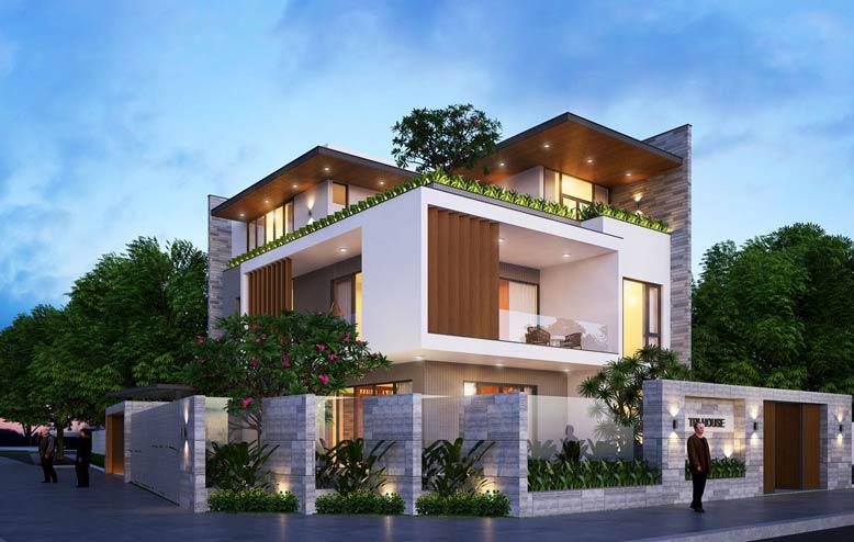 Mẫu biệt thự đẹp 3 tầng với thiết kế đơn giản