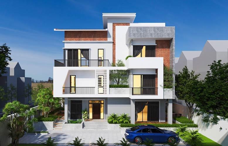 Biệt thự hiện đại đẹp 3 tầng mái bằng