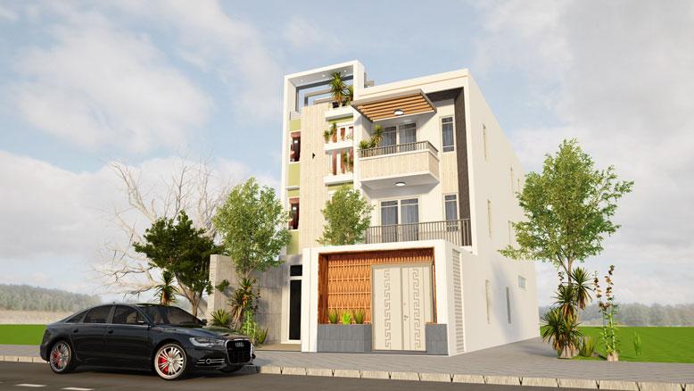 Tổng quan công trình thiết kế nhà phố 3 tầng 1 tum