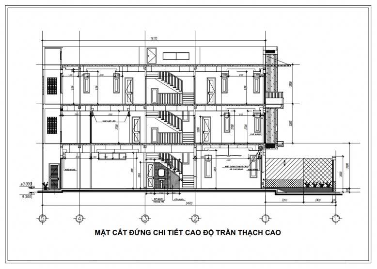 Mặt cắt đứng thiết kế nhà phố 3 tầng 1 tum