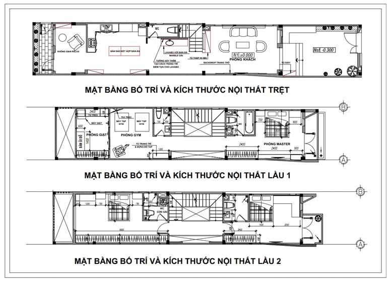 Bản vẽ thiết kế nhà phố 3 tầng 1 tum