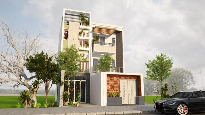 Thiết kế nhà phố 3 tầng 1 tum đẹp và thu hút
