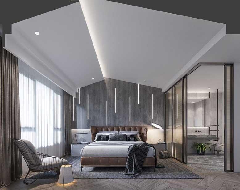 Thiết kế nội thất căn hộ chung cư với tông màu xám hiện đại