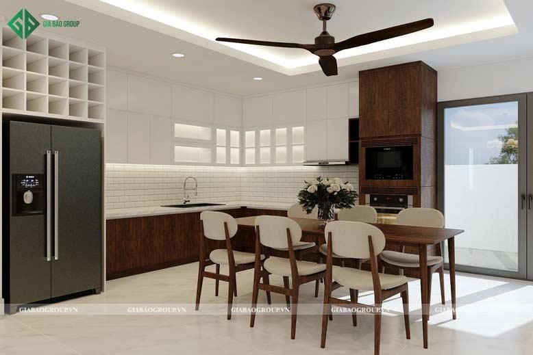 Phòng bếp hiện đại với chất liệu gỗ tự nhiên ấm áp, sang trọng cho thiết kế nội thất căn hộ chung cư