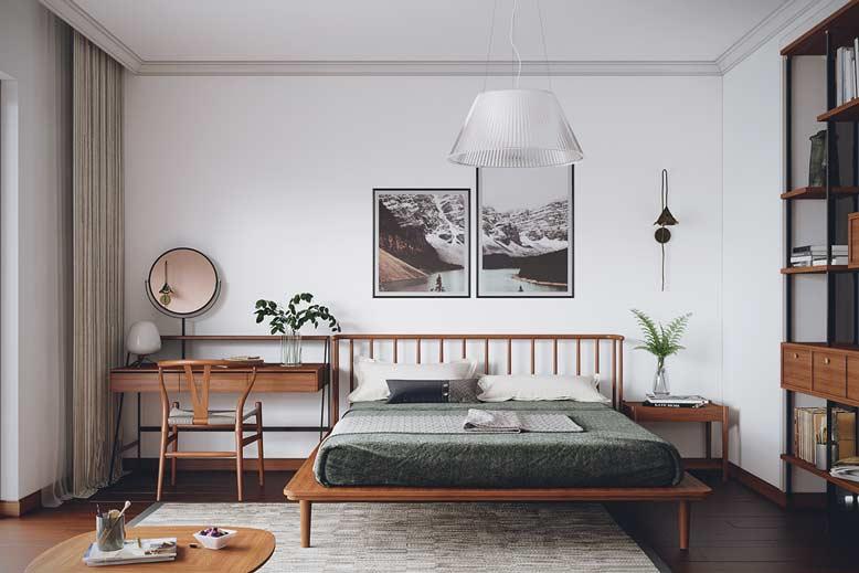 Phòng ngủ hài hòa với 3 gam màu trắng, nâu và xanh lục
