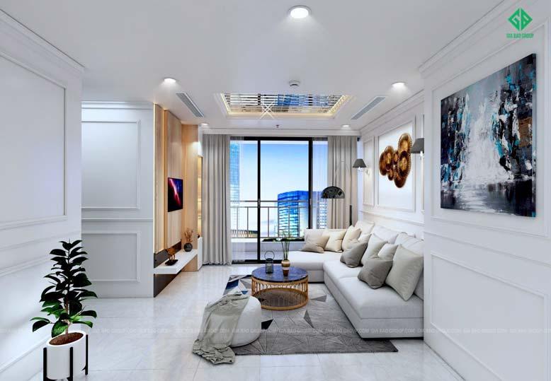 Thiết kế nội thất căn hộ chung cư với phòng khách bài trí gọn gàng, đơn giản
