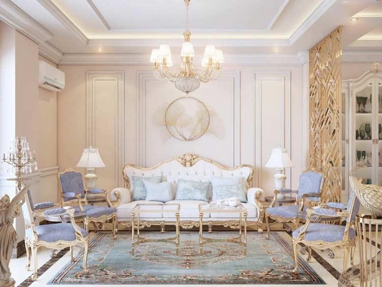 Phòng khách thiết kế theo phong cách cổ điển sang trọng