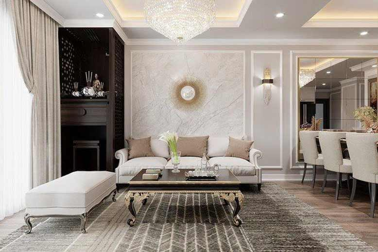 Phòng khách tân cổ điển sang trọng, quý phái với gam màu trắng tao nhã