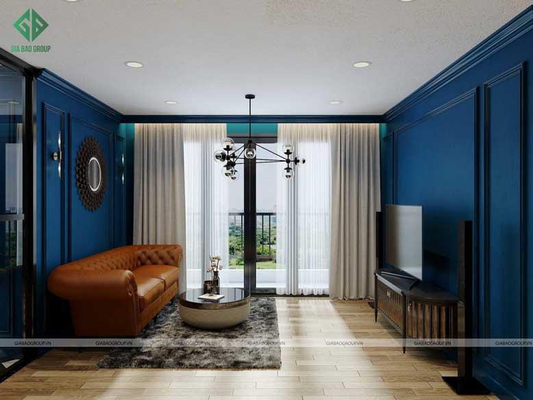 Nội thất phòng khách trong thiết kế nội thất chung cư tân cổ điển với màu xanh dương thanh lịch