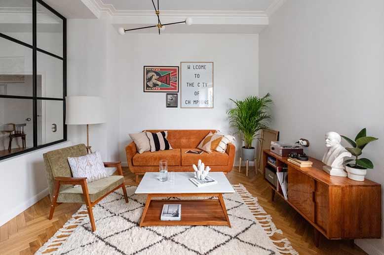 Phòng khách cho thiết kế nội thất chung cư phong cách Mid Century Modern