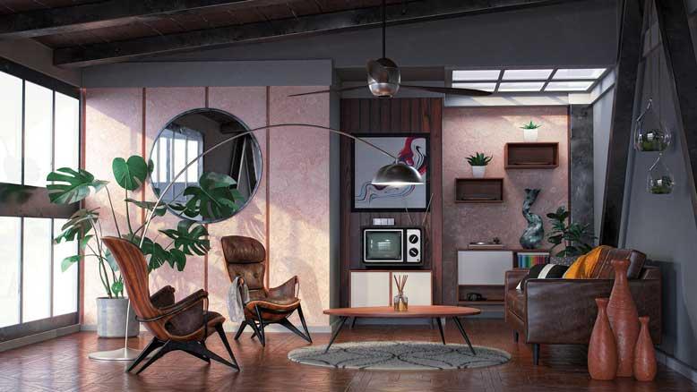Sự sáng tạo không giới hạn trong phối màu tạo nên không gian đậm chất Mid Century Modern