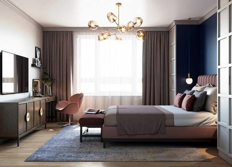 Phòng ngủ nhẹ nhàng nhưng vẫn mang hơi thở của phong cách Mid Century Modern cho thiết kế nội thất chung cư đẹp
