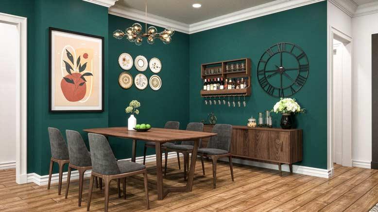 Phòng ăn với gam màu xanh lục độc đáo cho thiết kế nội thất chung cư đẹp