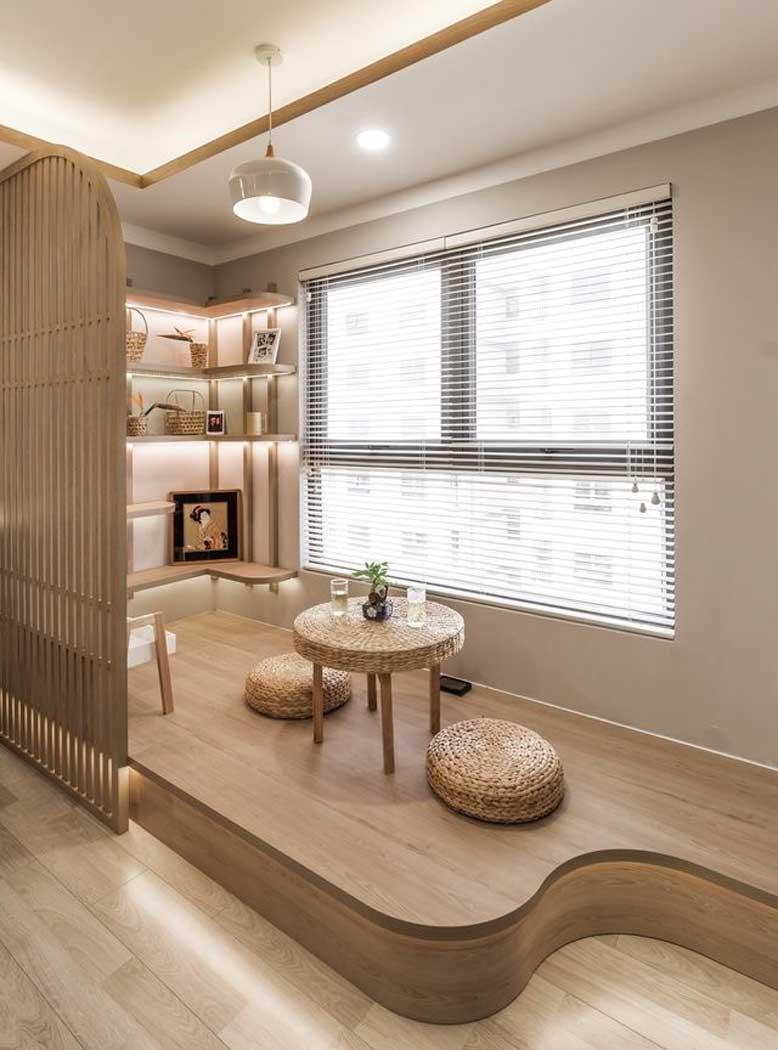 Không gian phòng khách nhỏ thiết kế tối giản theo phong cách Nhật Bản