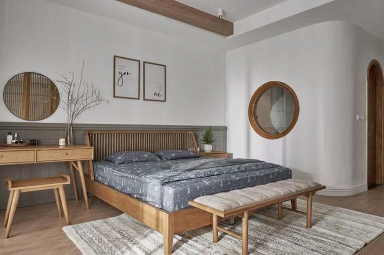 Phòng ngủ bài trí đơn giản với đồ nội thất cơ bản cho thiết kế nội thất căn hộ chung cư