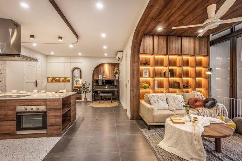 Thiết kế nội thất căn hộ chung cư với gam màu nóng tươi sáng, ấm cúng