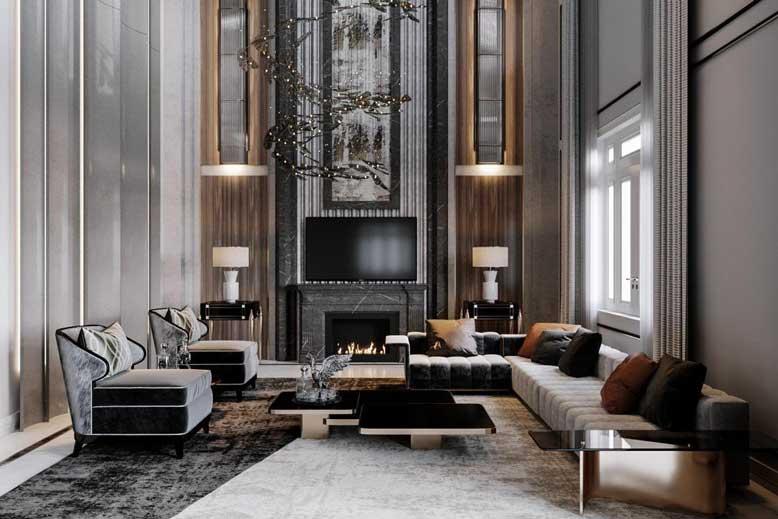 Nội thất phòng khách phong cách Luxury với gam màu trung tính quý phái