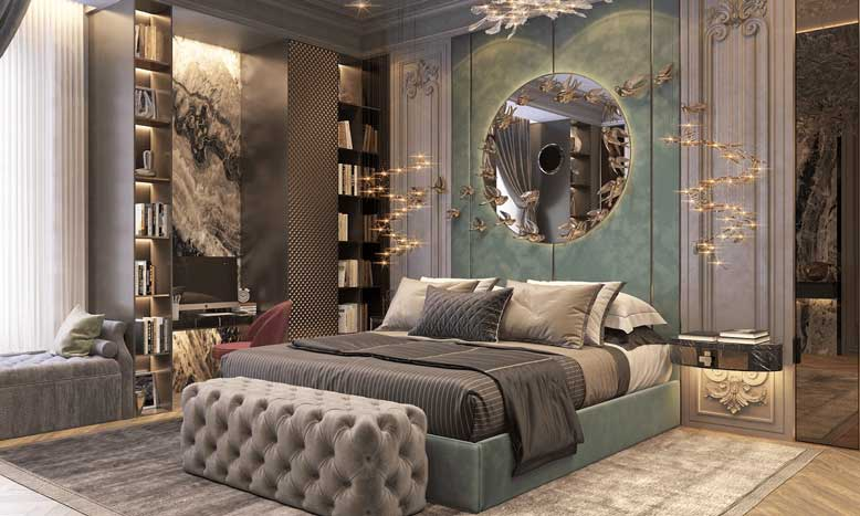 Mẫu phòng ngủ tông màu xanh nhạt đẹp, nhã nhặn trong thiết kế nội thất căn hộ chung cư