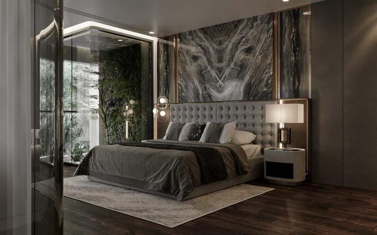 Phòng ngủ lát đá cẩm thạch với chất liệu ánh kim đẹp mắt cho thiết kế nội thất căn hộ chung cư