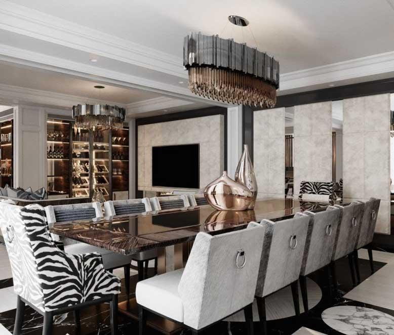 Phòng bếp với đồ nội thất xa xỉ, thiết kế độc đáo