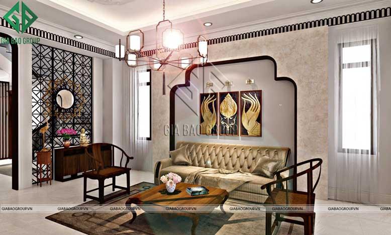 Thiết kế nội thất phòng khách theo phong cách á đông 2