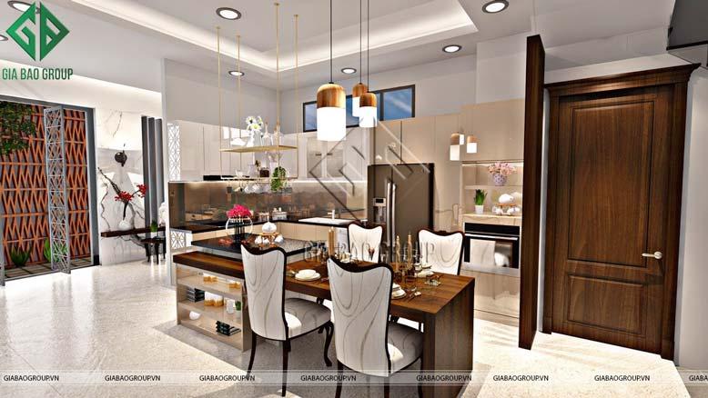 Phòng bếp và phòng ăn được thiết kế liền kề