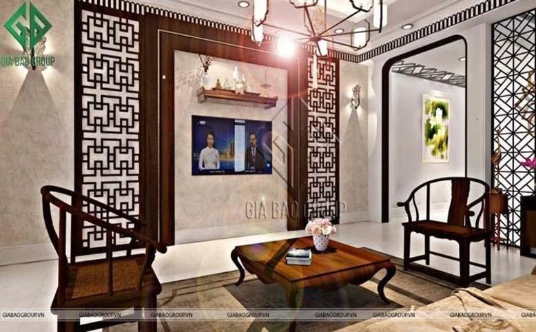 Phòng khách trong mẫu thiết kế nội thất phong cách Á Đông hiện đại