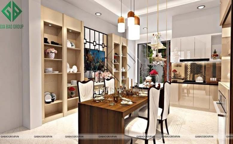 Phòng bếp trong mẫu thiết kế nội thất phong cách Á Đông hiện đại