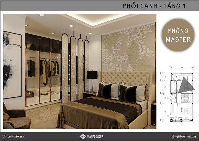 Phòng ngủ master trong công trình thiết kế nội thất phong cách Đông Dương