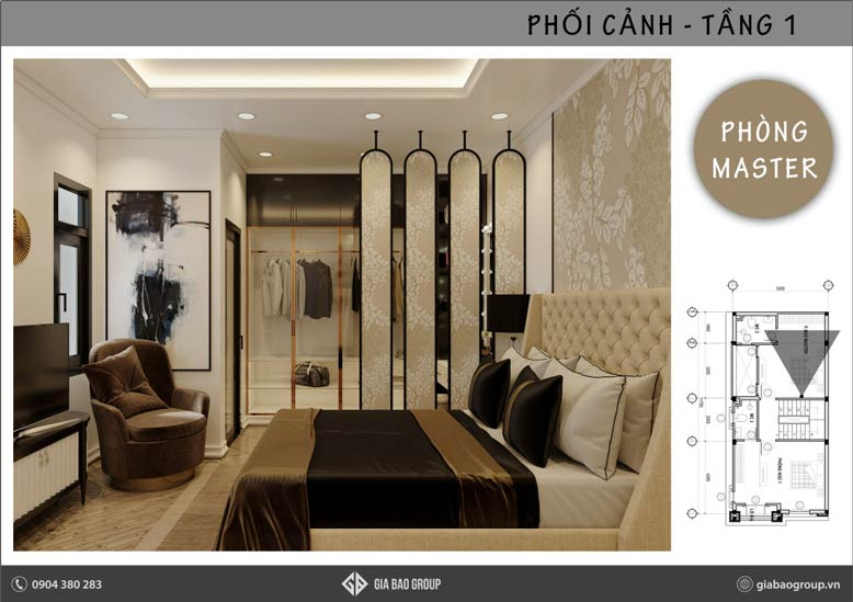 Phòng ngủ master đẹp theo thiết kế nội thất phong cách Đông Dương