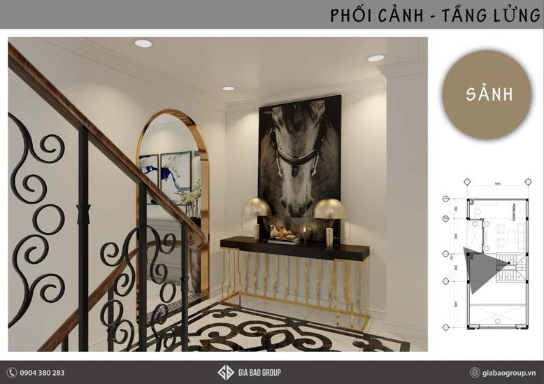 Khu vực sảnh với thiết kế nội thất phong cách đông dương
