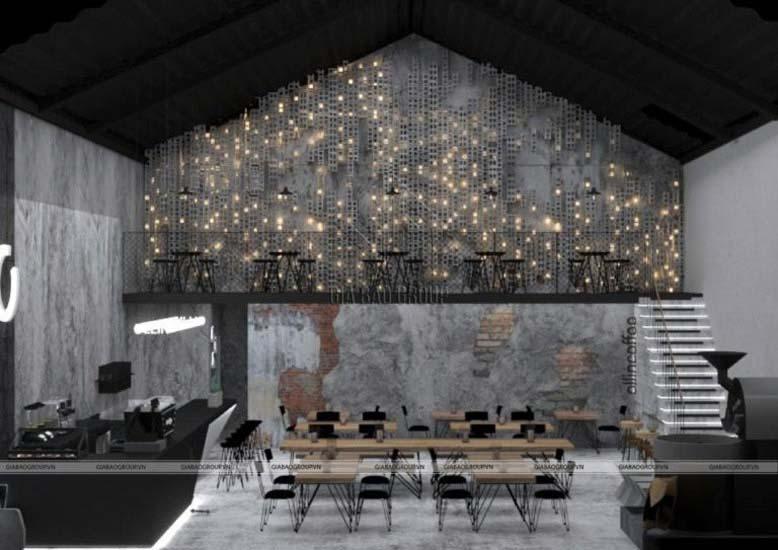 Thiết kế quán cà phê phong cách công nghiệp