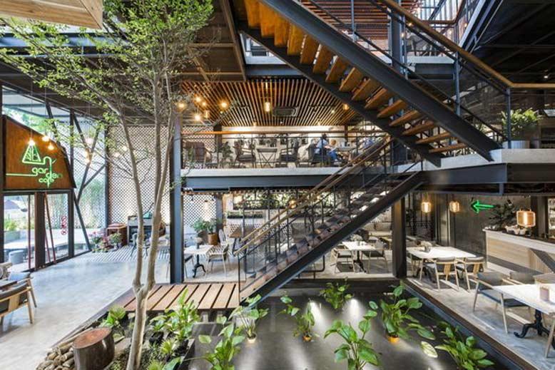thiết kế quán cafe phong cách industrial