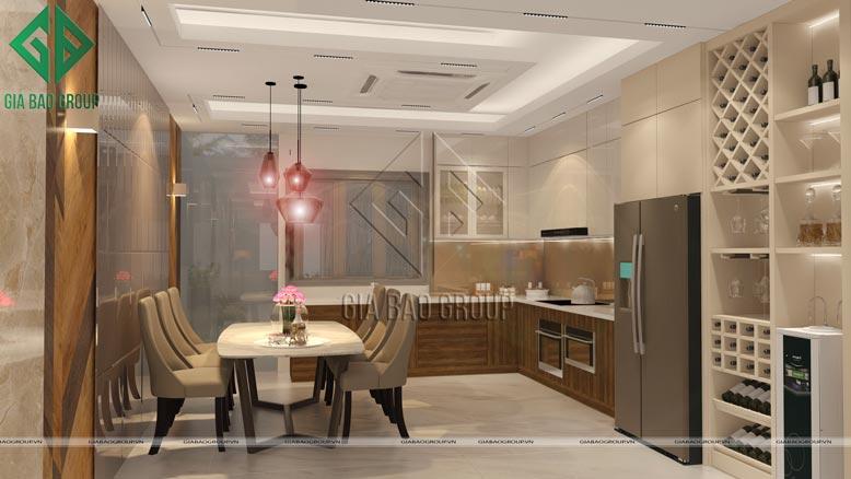 Thiết kế bếp trong mẫu nội thất nhà phố hiện đại sang trọng