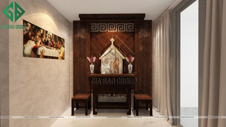 Phòng thờ mang màu sắc trầm ấm, trang nghiêm