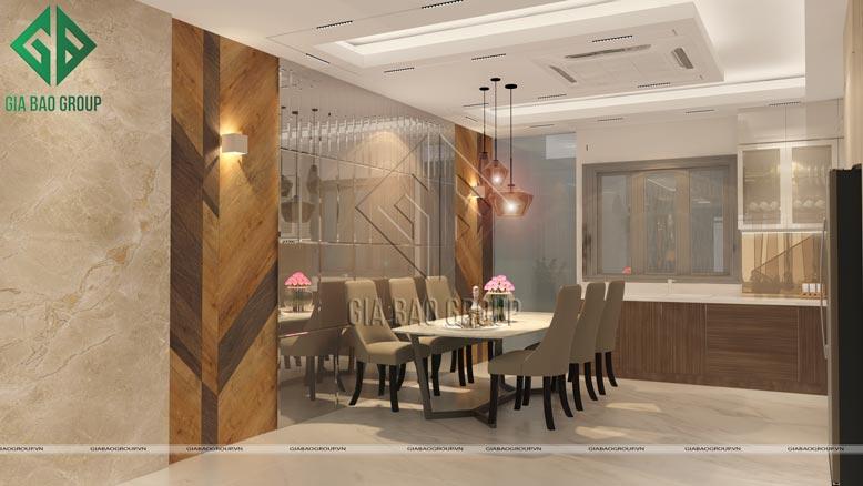 Mẫu nội thất nhà phố hiện đại sang trọng tại Bình Chánh cho phòng bếp