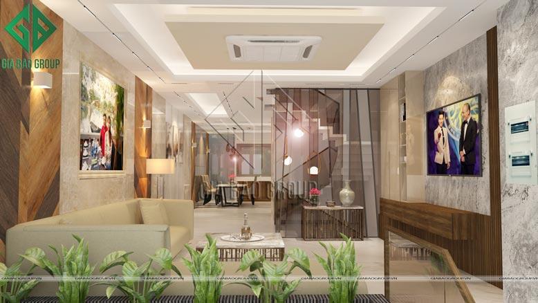 Toàn cảnh phòng khách trong mẫu nội thất nhà phố hiện đại sang trọng tại Bình Chánh