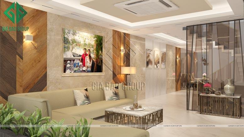 Phòng khách đẹp, rộng rãi của Mẫu nội thất nhà phố hiện đại sang trọng tại Bình Chánh