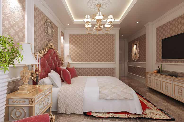 Phòng ngủ mang đậm chất tân cổ điển của mẫu nội thất nhà ống đẹp