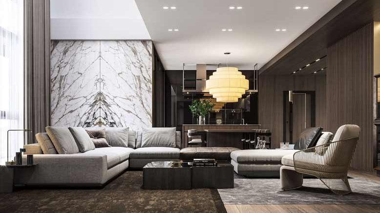 Không gian phòng khách với nội thất tinh tế