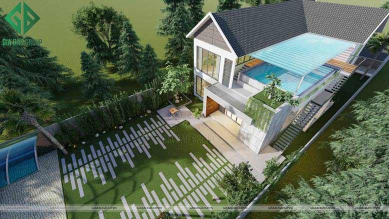 Hồ bơi được thiết kế tại tầng 2 của căn biệt thự