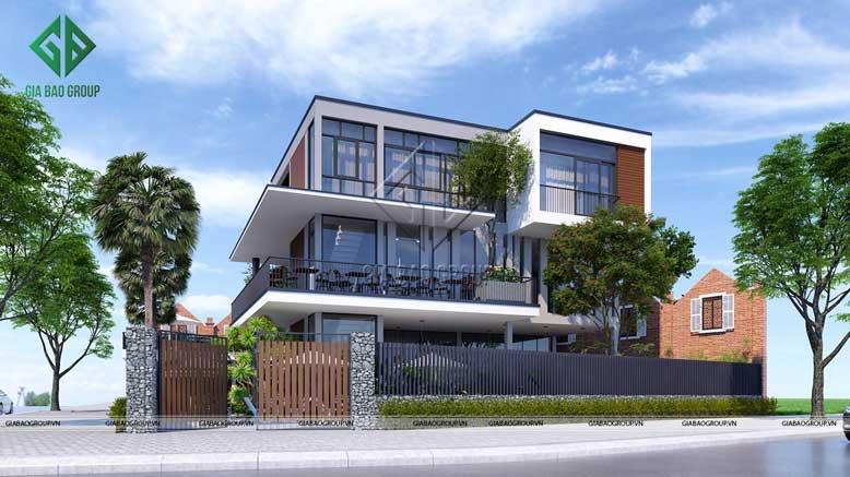 Hình ảnh thiết kế biệt thự 3 tầng phong cách hiện đại