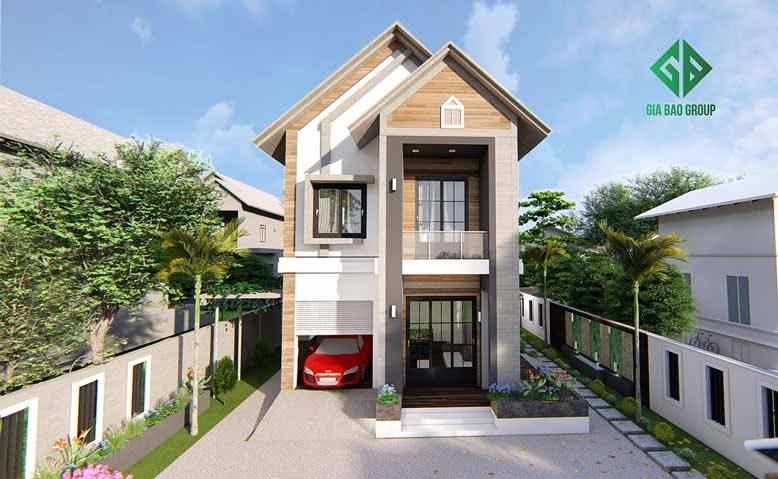 Thi công biệt thự 2 tầng hiện đại mái Thái