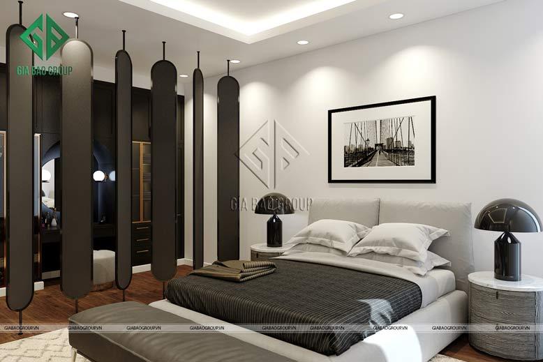 Phòng ngủ với gam màu nhẹ nhàng, tinh tế