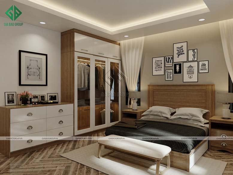 Phòng ngủ được thiết kế với nội thất gỗ ấm áp