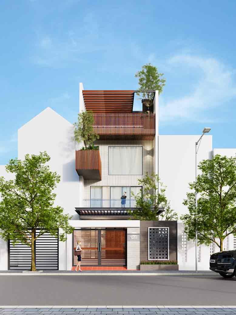 Mẫu nhà phố đẹp thu hút với kiến trúc lạ mắt