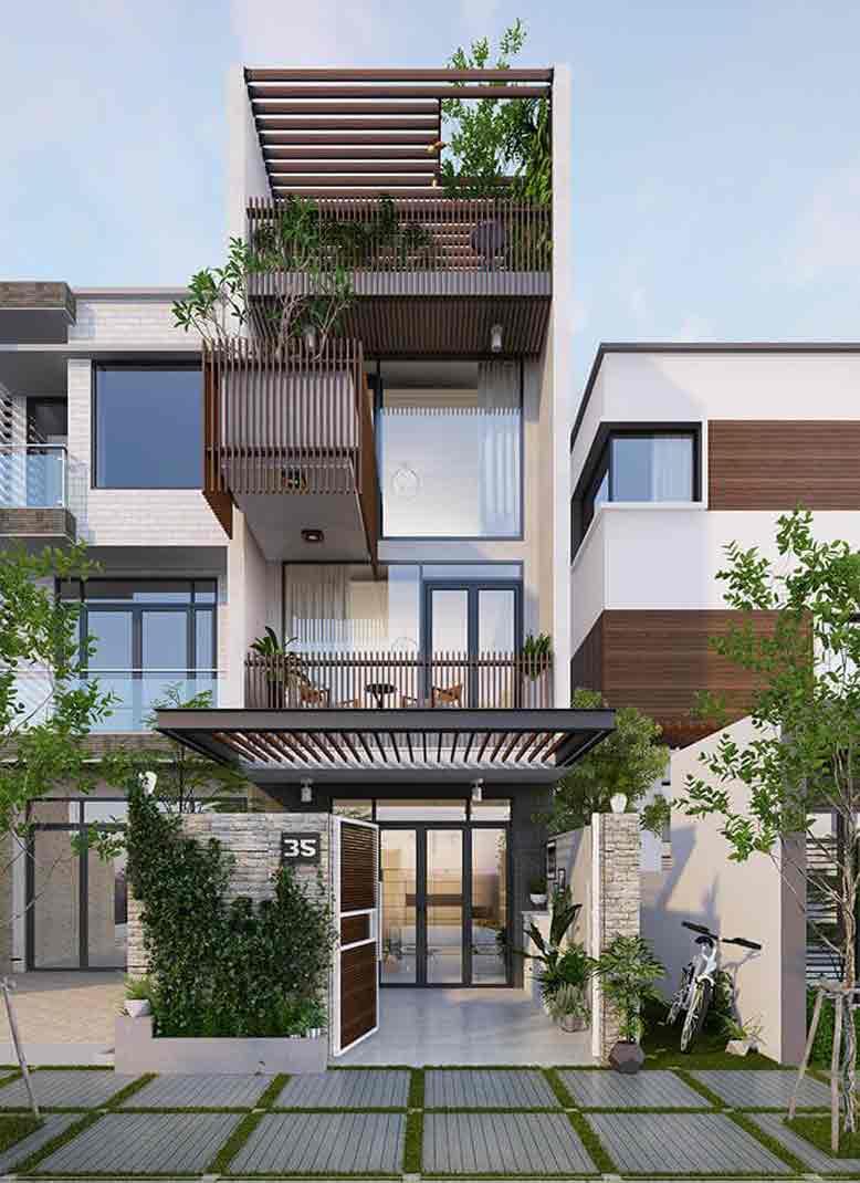 Tham khảo mẫu nhà phố đẹp, tận dụng tối đa không gian
