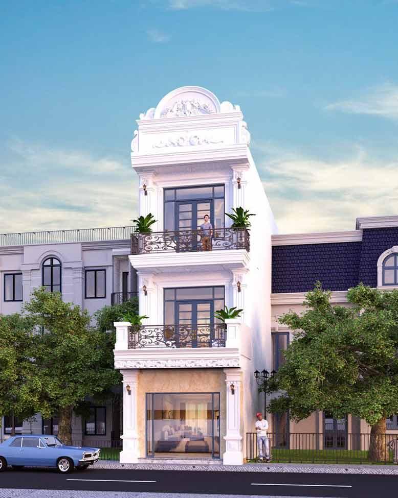 Mẫu nhà phố 3 tầng tân cổ điển với kiến trúc mềm mại