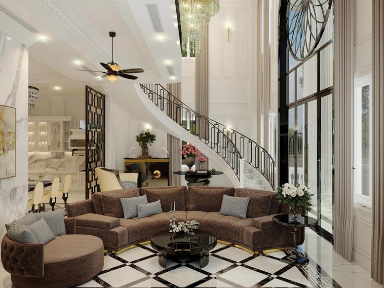 Thiết kế nội thất phòng khách biệt thự tân cổ điển với thiết kế đẹp, sang trọng
