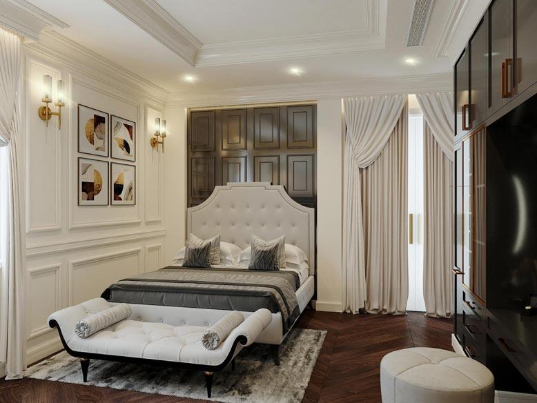 Phòng ngủ biệt thự được bày biện xa hoa và tiện nghi